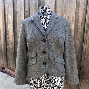 LL Bean Women Wool Black/White Wool Blazer